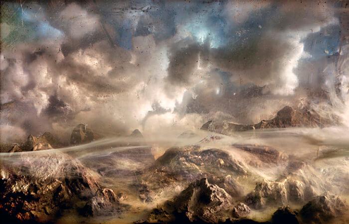 Kim Keever. Картина под водой – пейзаж гор